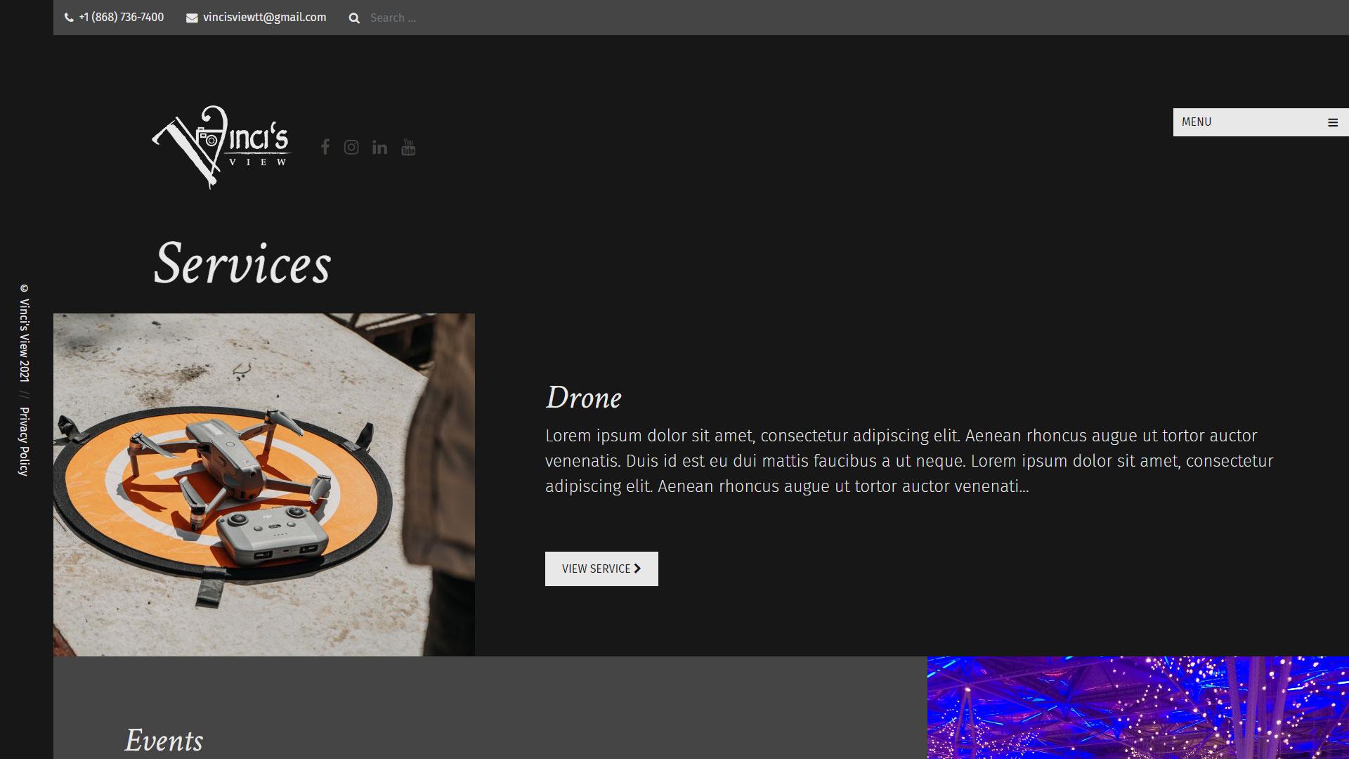 Vinci's View Website